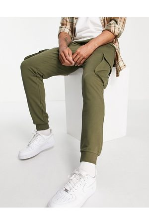 Only & Sons Organic cotton cargo joggers in khaki-Green