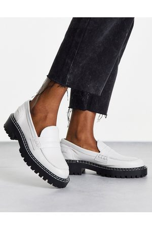 Schuh London chunky leather loafers in ecru-White