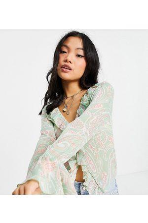 ASOS Petite sheer long sleeve blouse with ruffle detail in paisley print-Multi