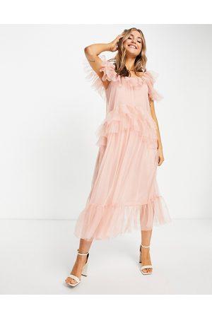 Miss Selfridge Dame Midikjoler - Tulle midi dress in pink