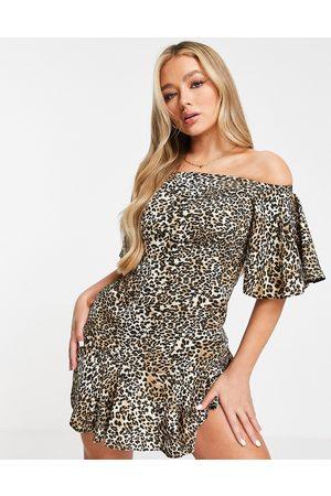 John Zack Dame Mønstrede kjoler - Off shoulder mini dress in animal print-Multi