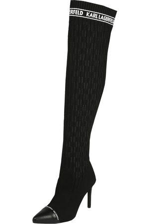 Karl Lagerfeld Lårstøvletter 'PANDORA Monogram Ribbed Knee Boot