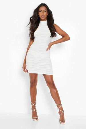 Boohoo Stripe Mesh Racer Beach Mini Dress