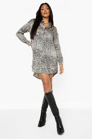 Boohoo Leopard Print Shirt Dress