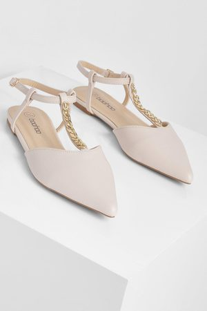 Boohoo Chain Detail Patent Pointed Ballerina