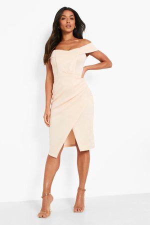 Boohoo Scuba Bardot Wrap Midi Dress