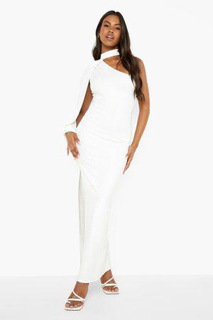 Boohoo One Shoulder Cape Maxi Dress