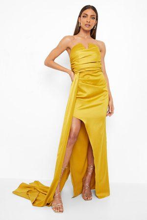 Boohoo Bandeau Draped Side Split Maxi Dress