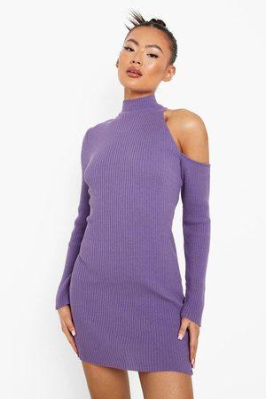 Boohoo Rib Knit Cold Shoulder Asym Dress