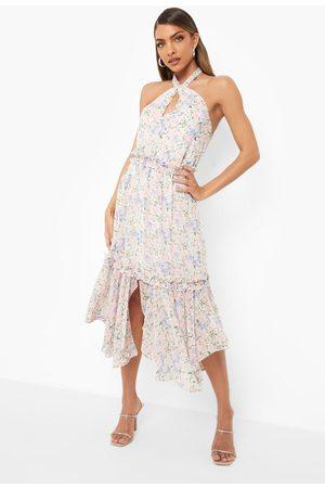 Boohoo Floral Print Halterneck Midi Dress