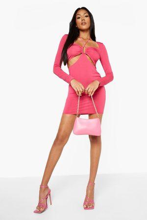 Boohoo Disco Slinky Plunge Long Sleeve Mini Dress