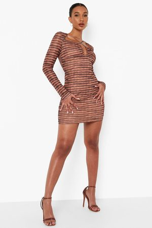 Boohoo Striped Long Sleeve Cross Detail Mini Dress