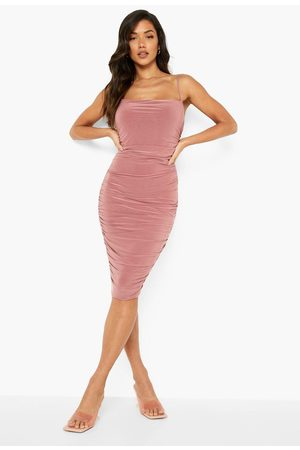 Boohoo Double Slinky Strappy Rouched Midi Dress