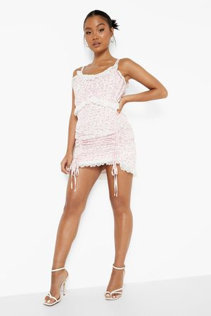 Boohoo Petite Ditsy Lace Trim Ruched Front Dress