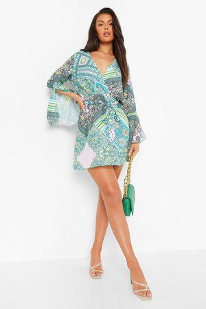 Boohoo Flute Sleeve Scarf Print Skater Dress
