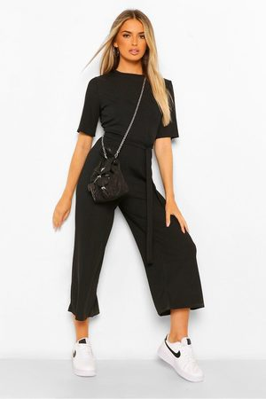 Boohoo Ribbed T-Shirt Style Belted Wide Leg Jumpsuit