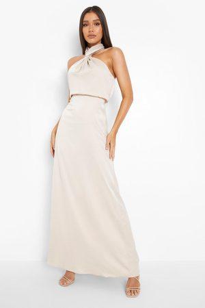 Boohoo Satin Halterneck Twist Maxi Bridesmaid Dress