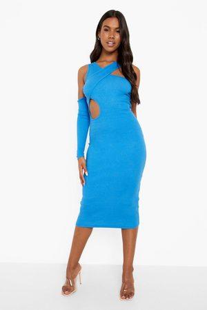 Boohoo Premium Rib Cut Out Asymetric Midaxi Dress