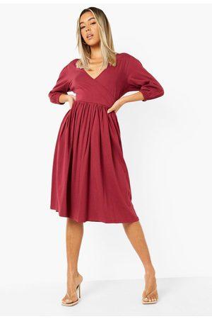 Boohoo 3/4 Sleeve Midi Smock Dress