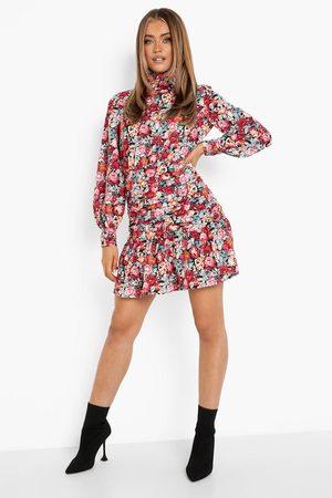 Boohoo Floral Print Ruched High Neck Skater Dress