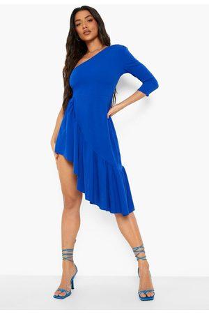 Boohoo Asymetric Ruffle Split Midi Dress