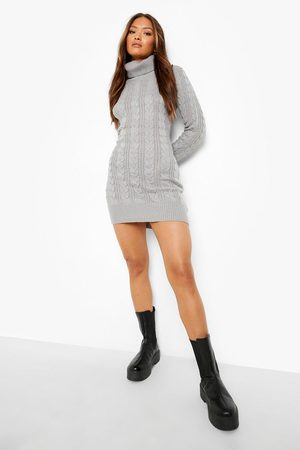 Boohoo Roll Neck Cable Knit Jumper Dress