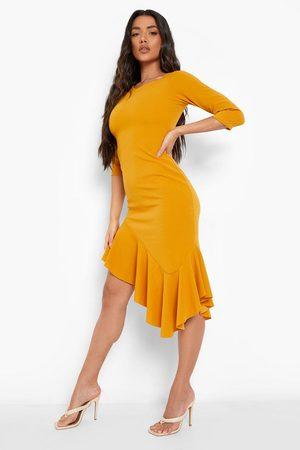 Boohoo Asymetric Frill Hem Midi Dress