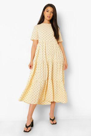 Boohoo Polk Dot Midaxi Smock Dress