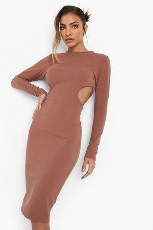 Boohoo Crinkle Cut Out Midi Dress