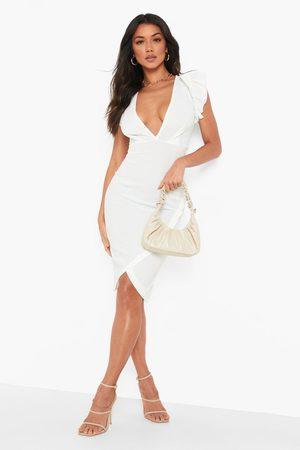 Boohoo Ruffle Plunge Wrap Midi Dress