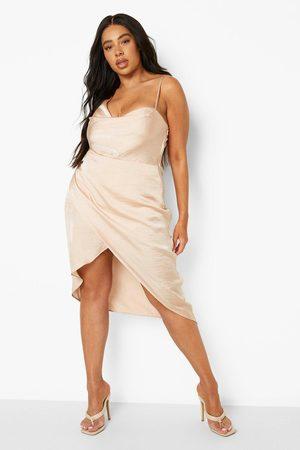 Boohoo Plus Satin Wrap Midi Dress