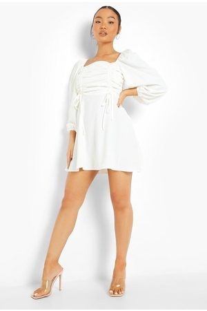 Boohoo Petite Ruched Front Balloon Sleeve Dress