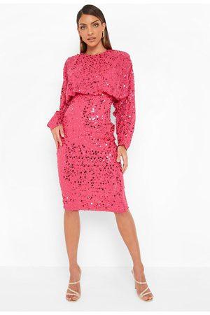 Boohoo Sequin Batwing Midi Dress