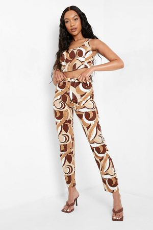 Boohoo Abstract Printed Boyfriend Jeans