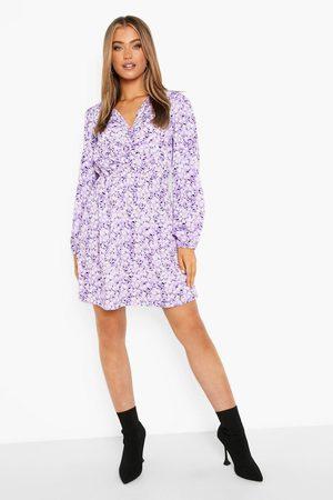 Boohoo Floral Print Tie Front Skater Dress