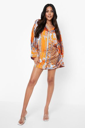 Boohoo Floral Print Chain Belted Shirt Dress