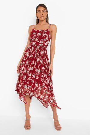 Boohoo Pleated Floral Print Strappy Midi Dress
