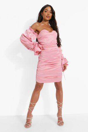 Boohoo Satin Rouched Bardot Long Sleeve Mini Dress