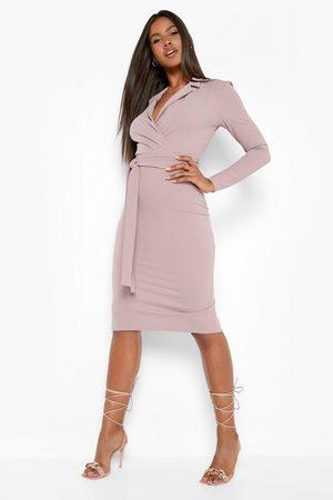 Boohoo Tailored Belted Midi Dress