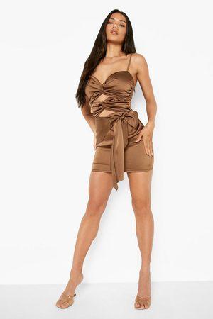 Boohoo Satin Bandeau Cut Out Mini Dress