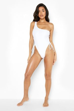 Boohoo One Shoulder Side Lace Up Swimsuit