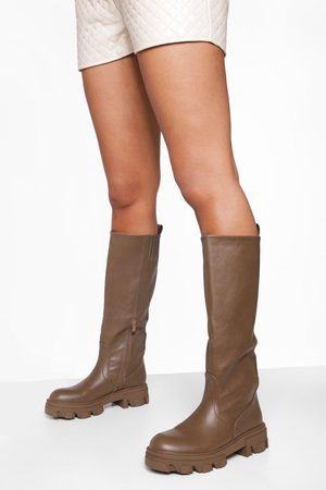 Boohoo Cleated Sole Pull On Knee High Boot