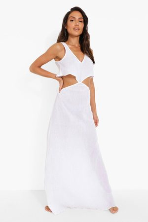 Boohoo Cheesecloth Frill Cut Out Beach Maxi Dress
