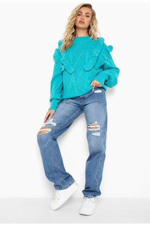 Boohoo Ruffle Cable Knitted Jumper