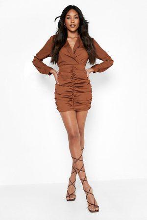 Boohoo Wrap Ruched Front Shirt Dress