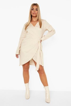 Boohoo Plus Woven Poplin Wrap Dress