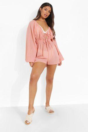 Boohoo Corset Style Puff Sleeve Woven Playsuit