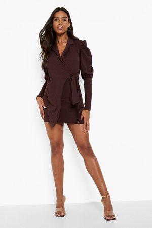 Boohoo Puff Sleeve Wrap Blazer Dress