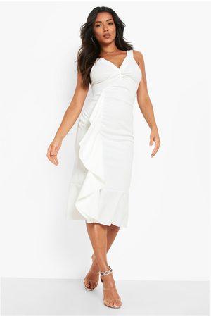 Boohoo Twist Ruffle Detail Midi Dress