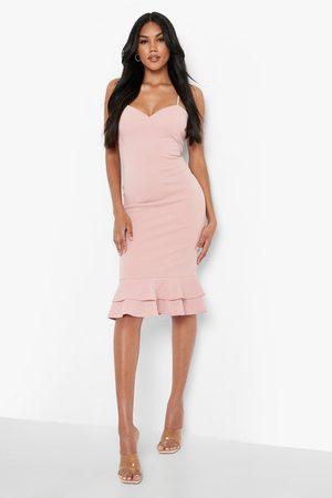 Boohoo Frill Hem Strappy Midi Dress